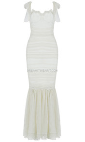 Crochet Bustier Ruched Mermaid Maxi Dress Ivory