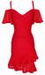 Bardot Ruffle Dress Red