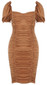 Short Sleeve Ruched Dress Brown