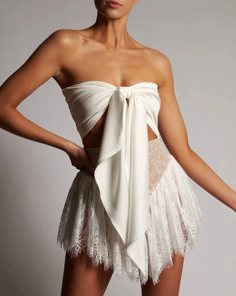 Strapless Bow Detail Lace Dress White
