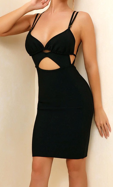 Strappy Cut Out Dress Black