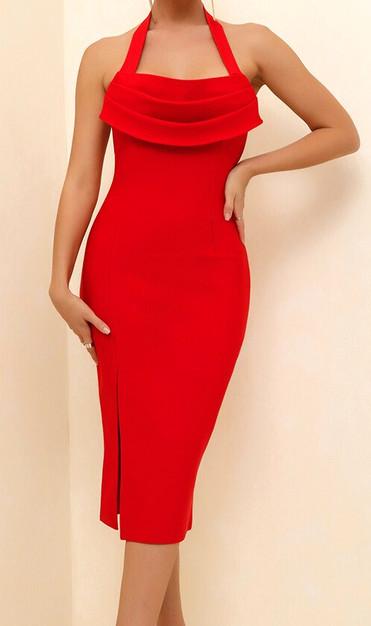 Halter Draped Midi Dress Red