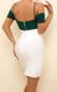 Bardot Strap Dress White Green