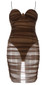 Ruched Mesh Bustier Dress Brown