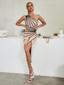 One Shoulder Black Trim Midi Dress Nude