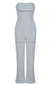 Strapless Draped Bustier Jumpsuit Silver Grey