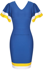 Butterfly Sleeve Dress Blue Yellow White