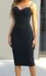 Rhinestone Straps Midi Dress Black