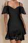 Bardot Ruffle Dress Black