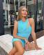 Mesh Insert Dress Light Blue Nude