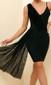 Ruffle Mesh Detail Asymmetric Dress Black