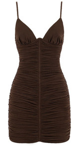 Bustier Detail Ruched Dress Brown