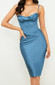 Draped Bustier Corset Midi Dress Blue