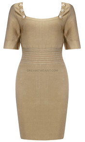 Short Sleeve Ribbed Detail Dress Nude