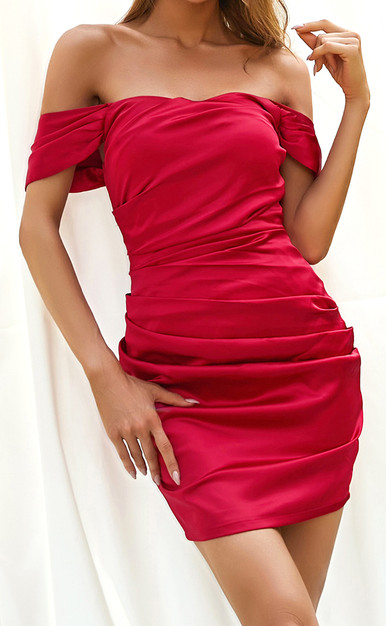 Off The Shoulder Draped Dress Red
