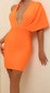 Asymmetric Plunge V Neck Dress Orange