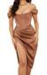 Bardot Structured Draped Midi Satin Dress Brown