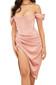Bardot Structured Draped Midi Satin Dress Pink