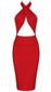 Halter Bustier Cross Over Midi Dress Red