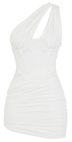 One Shoulder Ruched Corset Dress White
