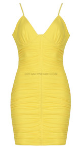 Bustier Ruched Dress Yellow