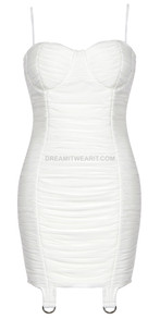 Bustier Ruched Dress White