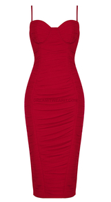 Bustier Detail Ruched Midi Dress Red