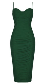Bustier Detail Ruched Midi Dress Green