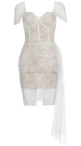 Off The Shoulder Draped Lace Bustier Dress White