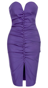 Strapless Ruched Dress Purple