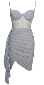 Ruched Bustier Corset Mesh Dress Silver Grey