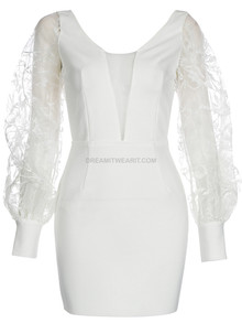 Lace Puff Sleeve Backless Dress White