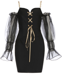 Puff Sleeve Chain Strap Lace Up Dress Black