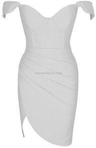 Off The Shoulder Bustier Draped Dress White