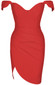 The Shoulder Bustier Draped Dress Red