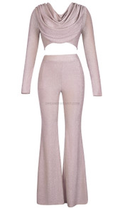 Long Sleeve Draped Sparkly Two Piece Jumpsuit Pink