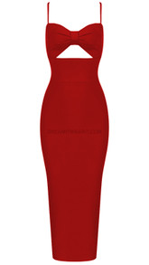 Bow Bustier Midi Dress Red