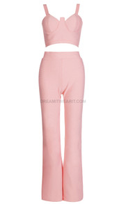 Bustier Two Piece Jumpsuit Pink
