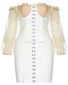 Puff Sleeve Off The Shoulder Bustier Corset Dress White