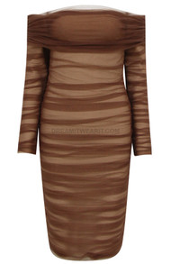 Long Sleeve Off The Shoulder Draped Dress Brown
