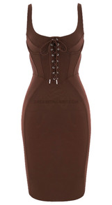Lace Up Bustier Corset Midi Dress Brown