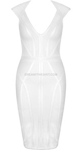 Cap Sleeve Structured Dress White