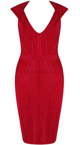 Cap Sleeve Structured Dress Red