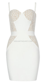 Lace Bustier Structured Dress White