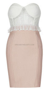 Strapless Lace Bustier Dress White Nude
