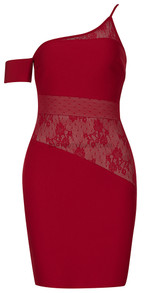One Shoulder Lace Asymmetric Dress Red
