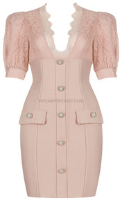 Lace Short Sleeve Structured Dress Nude