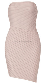 Strapless Ribbed Dress Nude Pink