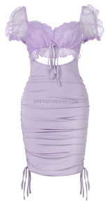 Mesh Puff Sleeve Ruched Dress Lavender