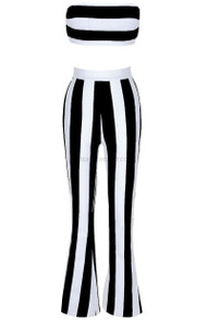 Strapless Striped Two Piece Jumpsuit Black White